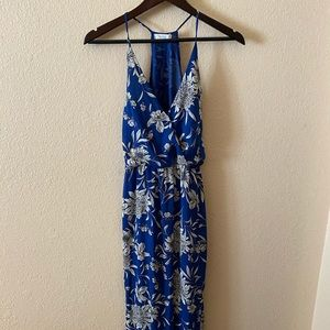 Small Blue Floral Maxi Dress with Slits